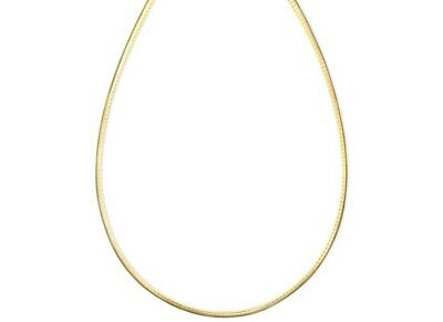 2mm 18K Gold Plated Sterling Silver 925 Italian OMEGA Snake Link Chain Necklace