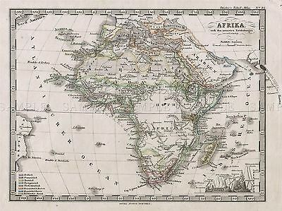 1862 Stieler Map Africa Vintage Repro Poster Art Picture 2938Pylv