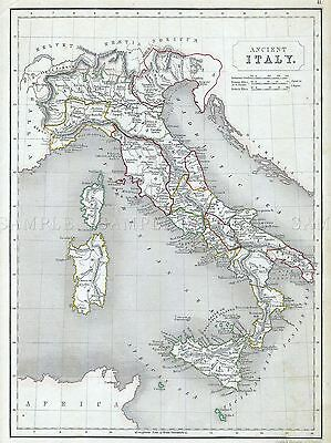 Chambers Map Ancient Italy Roman Empire Republic Poster Print Picture 2888Pylv
