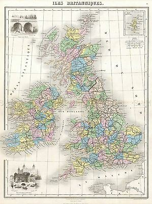 1878 Migeon Map The British Isles England, Ireland Scotland Poster Print 2960Py