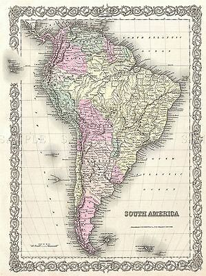 1855 Colton Map South America Vintage Repro Poster 2912Pylv