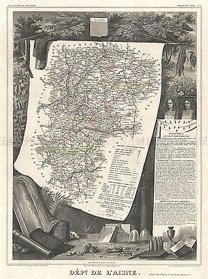 Geography Map Illustrated Antique Levasseu L'aisne Poster Art Print Bb4361A