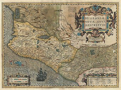 Geography Map Illustrated Antique Hondius Mercator Mexico Poster Print Bb4329A