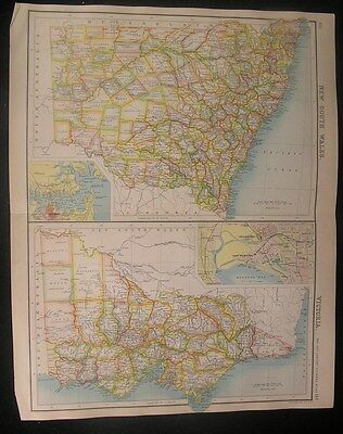 New South Wales & Victoria Australia 1902 antique Bartholomew color map