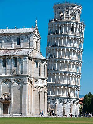PAINTING ABSTRACT LANDMARK DRAWING LEANING TOWER PISA SUN POSTER PRINT BMP10244