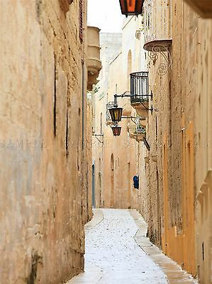 Mdina Malta Historic Narrow Back Street Photo Art Print Poster Picture Bmp517A