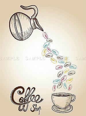 COFFEE COLORFUL SKETCH STYLE BEANS ILLUSTRATION COPY ART PRINT POSTER BMP2210A
