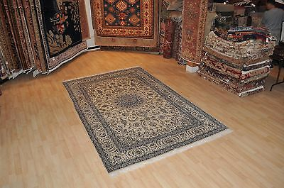 SUPER QUALITY Persian Nain Silk Wool finely woven authentic handmade 7'x10' rug