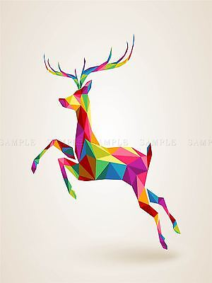 ART PRINT POSTER PAINTING DRAWING LEAPING RUNNING DEER POLYGON LFMP0417