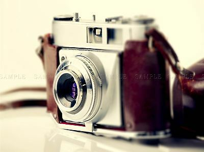 Photograph Old Vintage Retro Antique Camera Red Silver Art Print Poster Mp3994A