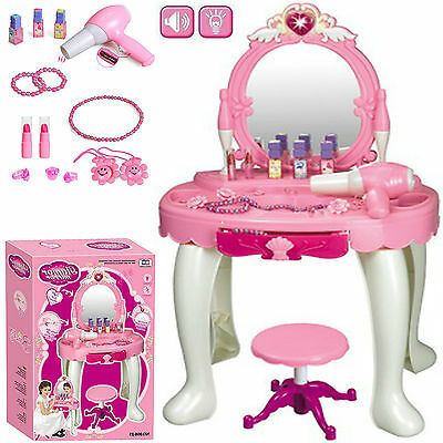 Kids Girls Glamour Mirror Dressing Table Pretend Play Set Beauty Makeup Game Toy