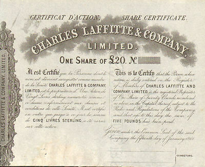 Charles Laffitte & Company   1866 French English stock certificate
