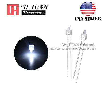 100pcs 2mm Diffused LED Diodes White Color White Light DIP Round Top USA