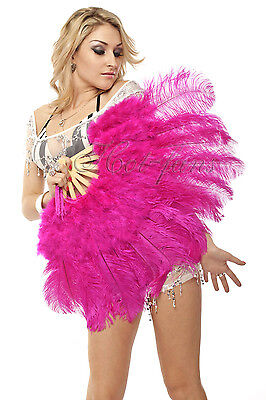 "21""x 39"" Hot Pink Purple marabou ostrich feather fan burlesque dance gift box"