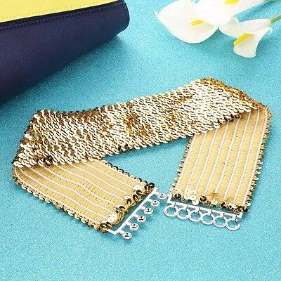Women Fashion Elastic Stretch Shinning Sequin Waist Waistband Belt Gold AP