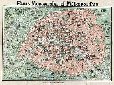 Geography Map Illustrated Antique Robelin Paris Large Poster Art Print Bb4466A