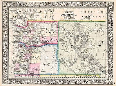 Geography Map Illustrated Antique Mitchell Pacific North West Art Print Bb4442A
