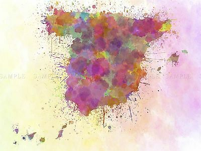 Painting Map Abstract Spain Canaries Balearic Paint Splash Design Print Bmp10698