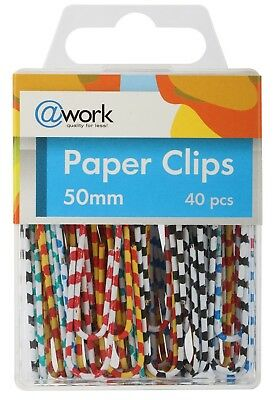 ATWORK X LARGE METAL PAPER CLIPS ASSORTED STRIPED COLOR, 50mm, 40pcs