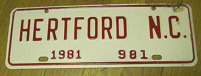 1981 Hertford North Carolina license plate tag never used