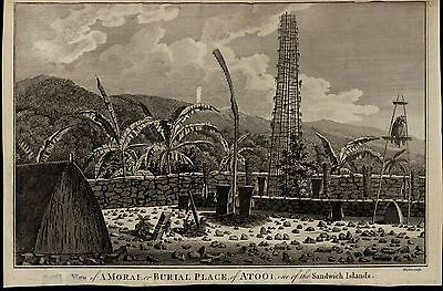 Atooi Burial Place Sandwich Islands ca. 1780's fascinating old engraved print