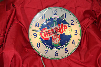 1950s Rare CHEER UP SODA Light-Up Advertising Glass Bubble Clock 15""