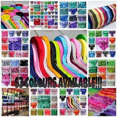 1, 3 or 5 metres Premium Soft 15mm FOLD OVER ELASTIC 63 colours, headbands