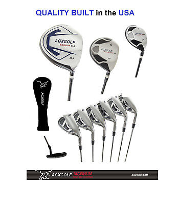 "+2"" TALL MENS AGXGOLF COMPLETE GOLF CLUB SET 460cc DRIVER, WOODS, IRONS & PUTTER"