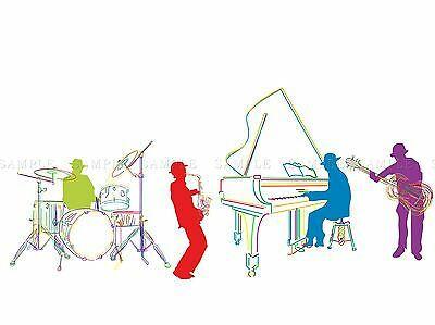 Jazz Piano Blues Drums Saxaphone Music Home Art Print Poster Picture Bmp529A