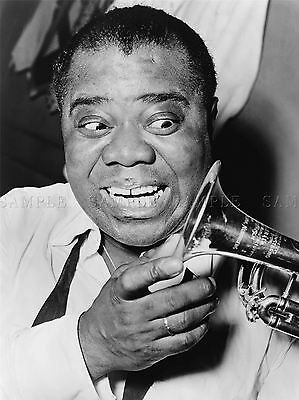 Photography Black White Music Jazz Louis Armstrong Trumpet Jazz Poster Lv3631
