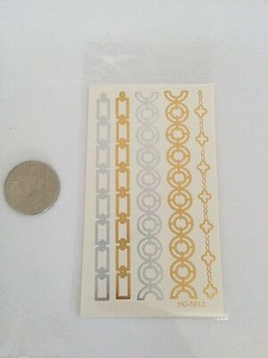 Foil Metallic Temporary Tattoo Transfer Gold Silver Body Art Tattoos Flash 5012