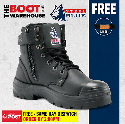 Steel Blue 'Argyle' 332152 Black Work Boots. Steel Cap Safety. Zip Side Bump Cap