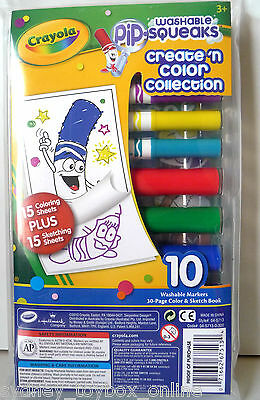 Crayola Pip Squeaks Washable 10 Markers 30 Page Colour Sketch Book DISCOUNTED