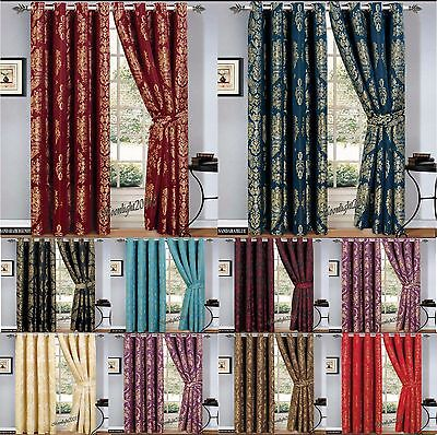 100% Jacquard Pair Curtains Ring Top / Eyelet tape Fully Lined Pair Curtains