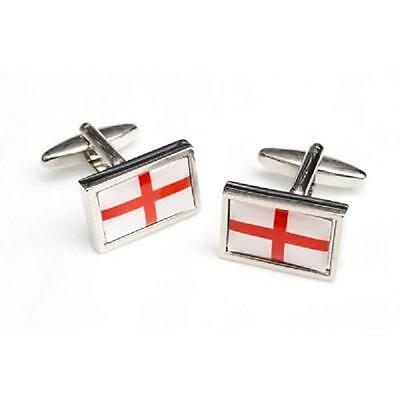 St George Cross Flag Framed CUFFLINKS England Party Christmas Present GIFT Box