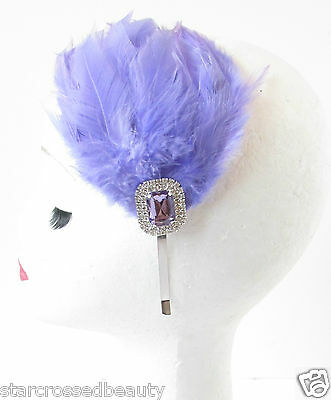 Lilac Purple Silver Feather Fascinator Headpiece Headband 1920s Flapper Vtg R57