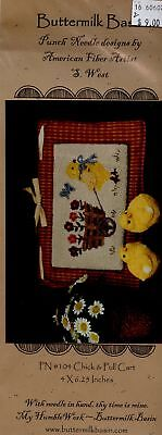 Chick & Pull Cart Buttermilk Basin Punchneedle Embroidery Pattern NEW