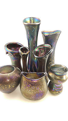 Neo Art Glass iridescent hand blown glass vase signed K.Heaton with certificate