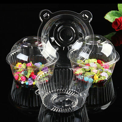 100pcs Clear Plastic Single Cupcake Muffin Case Pods Domes Cup Cake Holder Boxes