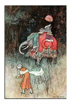 """ Elephant's ride for a king"" a Bengal fairy tale by Warwick Goble Canvas print"