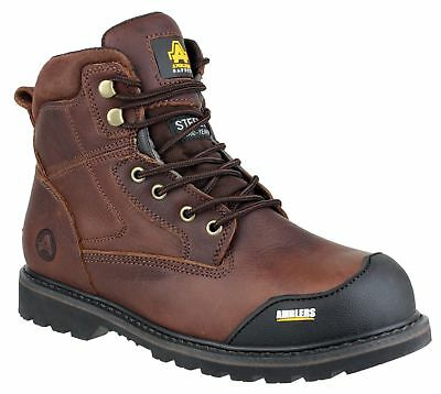 Amblers FS167 SBP SRA Crazy horse brown leather safety boot & midsole size 6-13