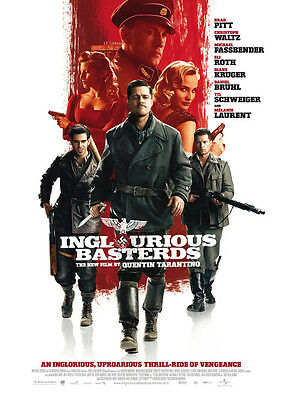 "Inglourious Basterds Silk Fabric Movie Poster New Tarantino Brad Pitt 24""x36"""