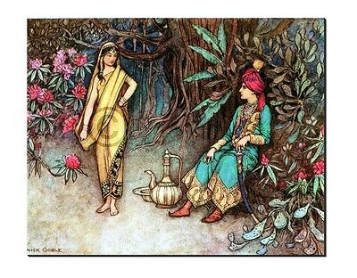 """ King and Queen of India "" a Bengal fairy tale by Warwick Goble Canvas print"