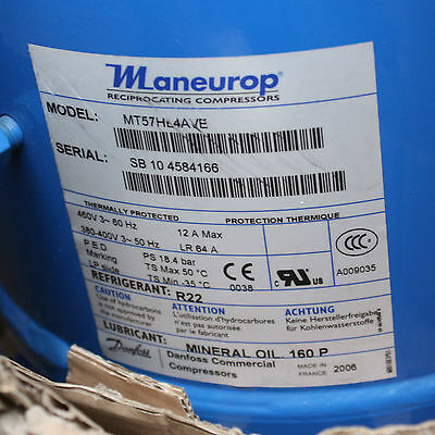 Danfoss Maneurop MT57HL4AVE 460V 3~ 60Hz Reciprocating Compressor