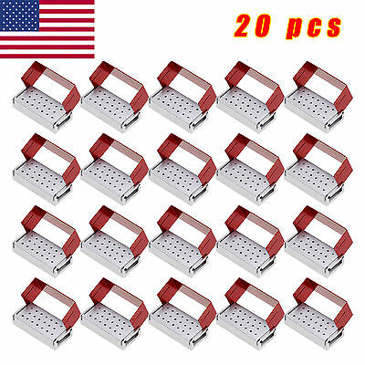 20 X ALUMINIUM Dental Bur Burs Holder Block Disinfection Box Autoclave 20 Holes
