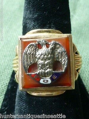 Vintage 10K Yellow Gold Carnelian Fraternal Order of Eagles Ring size 9