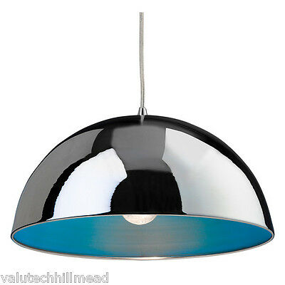 Firstlight Bistro 1 Light Bowl Pendant Light in Chrome with Blue Inside