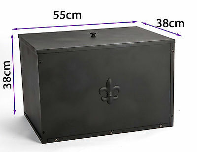 Classic Crannog Black Metal Log Box with Fleur de Lys Motif