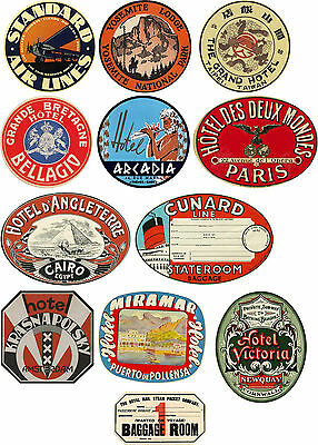 Vintage Style Travel Suitcase Luggage Labels Set Of 12 vinyl stickers