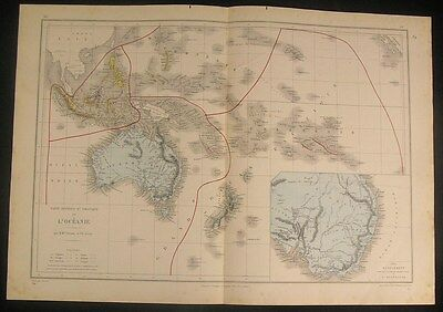 Oceania Australia w/ large inset 1879 nice antique color map